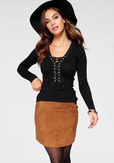 Melrose V-Ausschnitt-Pullover mit Spitze und Schnürung