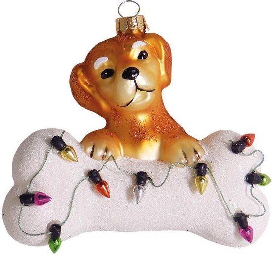 Krebs Glas Lauscha Christbaumschmuck »Hund mit Knochen & Lichterkette« (1-tlg), mundgeblasen