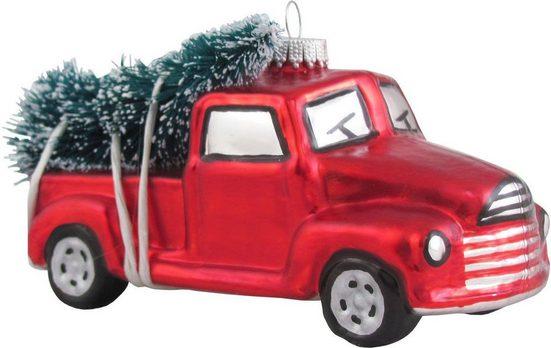 Krebs Glas Lauscha Christbaumschmuck »Pickup mit Weihnachtsbaum« (1-tlg), mundgeblasen