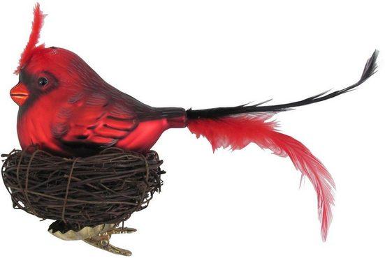 Krebs Glas Lauscha Weihnachtsbaumklammer »Vogel im Nest« (1-tlg), mundgeblasen