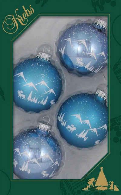 Krebs Glas Lauscha Weihnachtsbaumkugel »Alpenpanorama« (4 Stück)