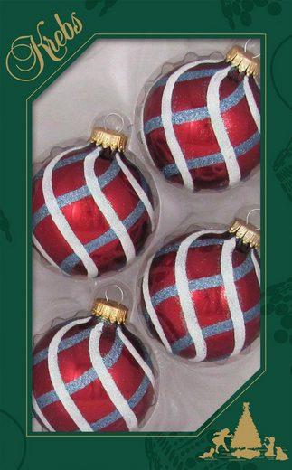 Krebs Glas Lauscha Weihnachtsbaumkugel »Spirale« (4 Stück)
