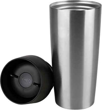 Emsa Thermobecher »Travel Mug Grande«, Edelstahl, 513351, gebürsteter Edelstahl, 360 ml Inhalt, auslaufsicher, 4h heiß, 8h kalt, Schwarz