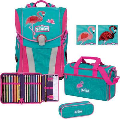 Scout Schulranzen »Sunny Premium, Glitter Flamingo« (Set)