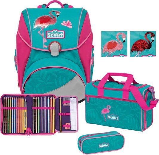 Scout Schulranzen »Alpha Premium, Glitter Flamingo« (Set)