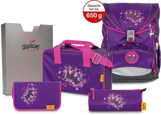DerDieDas® Schulrucksack »ErgoFlex Superlight - Purple Princess« (Set)