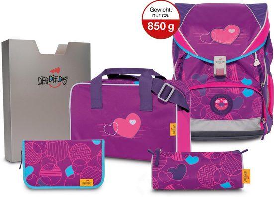 DerDieDas® Schulrucksack »ErgoFlex XL - Velvet Heart« (Set)