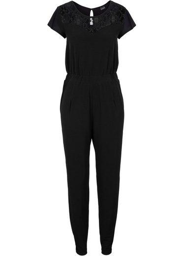 bonprix Jumpsuit »aus Jersey mit Spitzenpasse«