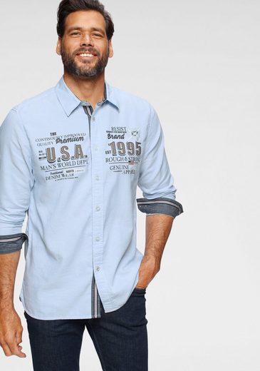 Man's World Langarmhemd Modische Stickerrei und Print