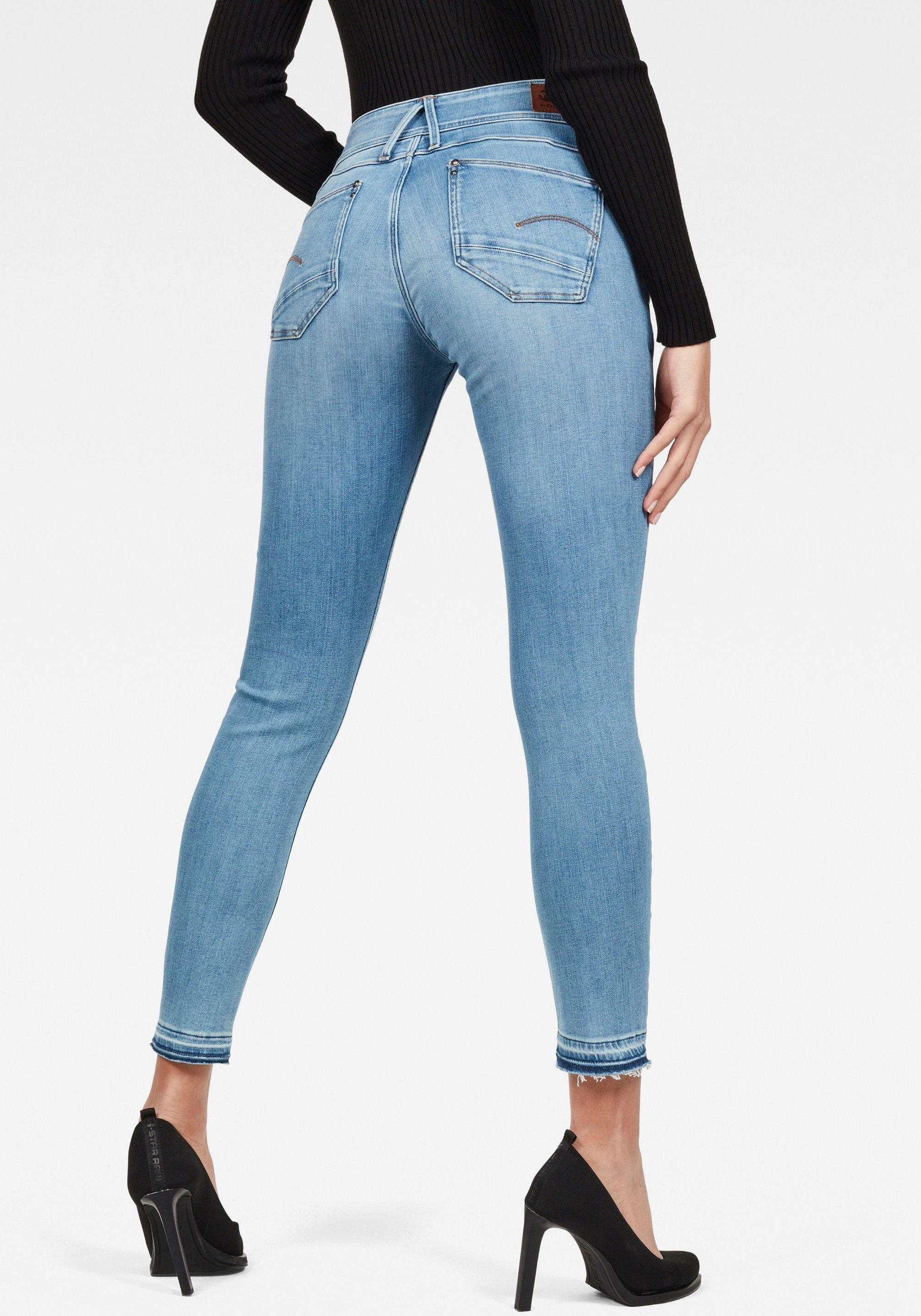 G Star RAW Skinny fit Jeans »Lynn Mid Waist Skinny Ripped« Ankle Jeans mit Elasthan Anteil online kaufen | OTTO