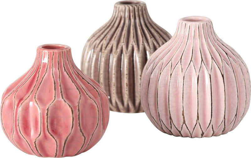 BOLTZE Kugelvase »Lenja« (Set, 3 Stück), aus Keramik