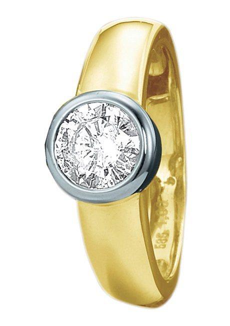 firetti Ring: Solitaire Verlobungsring / Vorsteckring in Gelbgold 585