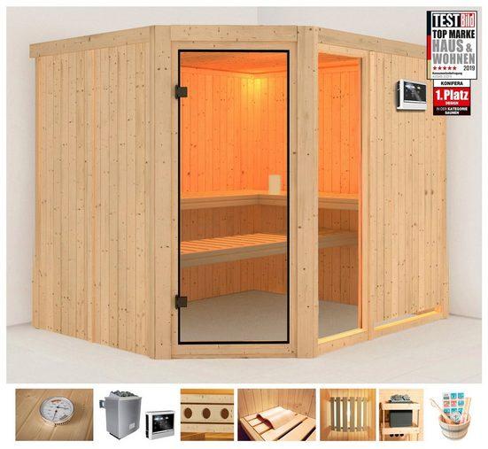 KONIFERA Sauna »Jette 3«, 231x196x198 cm, 9 kW Ofen mit ext. Steuerung