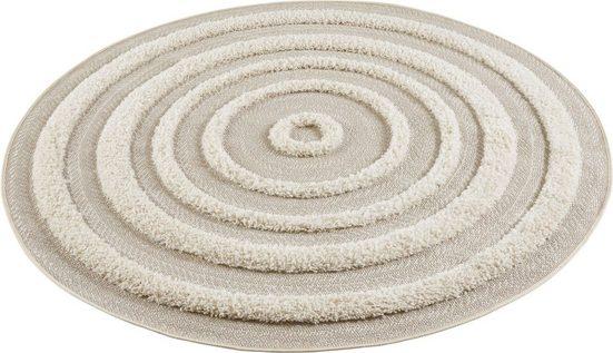 Teppich »Nador«, MINT RUGS, rund, Höhe 22 mm, In- und Outdoor geeignet, Sisal-Optik, Hoch-Tief-Struktur, Für Terasse und Balkon, Wohnzimmer