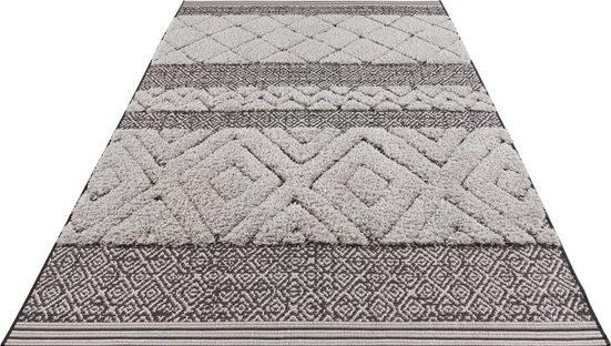 Teppich »Todra«, MINT RUGS, rechteckig, Höhe 22 mm, In- und Outdoor geeignet, Sisal-Optik, Hoch-Tief-Struktur, Für Terasse und Balkon, Wohnzimmer