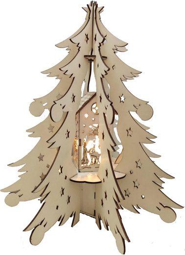 BONETTI LED Dekoobjekt »Holztannenbaum«, mit beleuchteter Dekoration, Batteriebetrieb