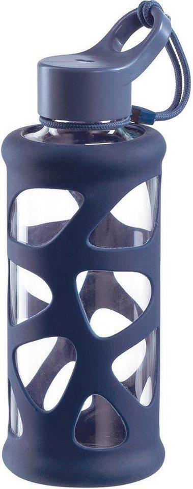 Leonardo To Go Flasche Azzurro 0,5 Liter Trinkflasche Glasflasche Silikonhülle