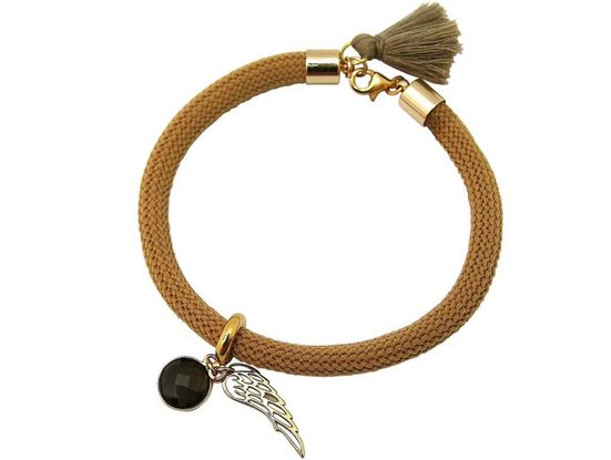Gemshine Charm-Armband »Engel Flügel Rauchquarz mit Quaste«, Made in Germany