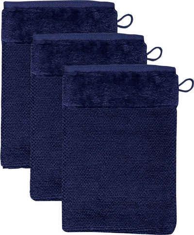 Möve Waschlappen »MÖVE Bamboo Luxe 3er Set Waschhandschuh« (3-tlg), mit seidig glänzenden Bordüren