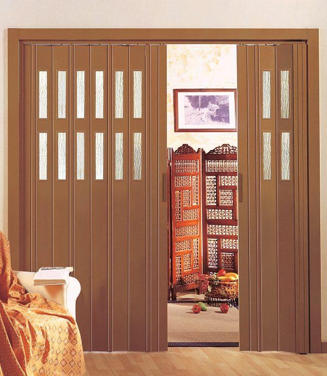 Kunststoff-Falttür »Luciana«, mahagonifarben, mit Fenstern in Riffelstruktur