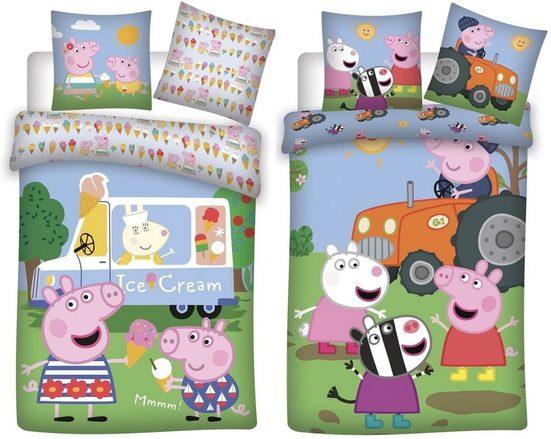 Babybettwäsche »Peppa Pig Wutz - 2 x Baby-Bettwäsche-Set, 100x135 & 40x60 cm«, Peppa Pig, 100% Baumwolle