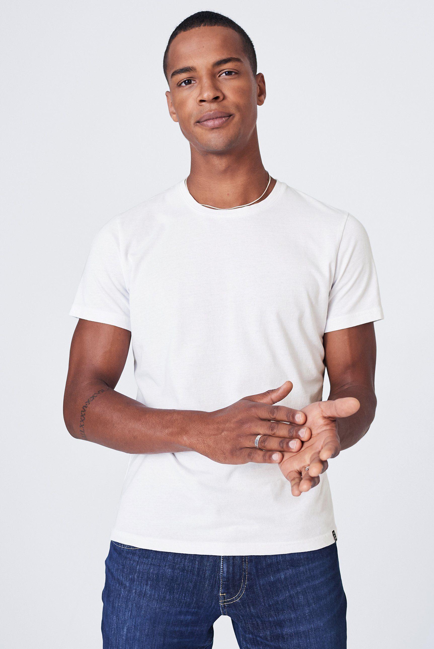 Herren Harlem Soul T-Shirt mit Label Patch grau, schwarz, weiß | 04061519027274