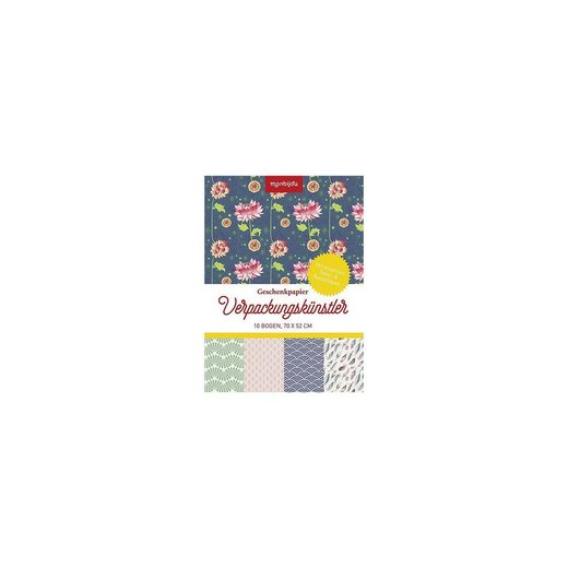 monbijou Geschenkpapier Verpackungskünstler - Design floral, 10 Bogen