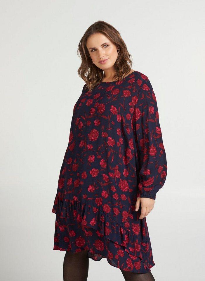 Festtagsmode - Zizzi Abendkleid Große Größen Damen mit Print und Rüschendetails ›  - Onlineshop OTTO