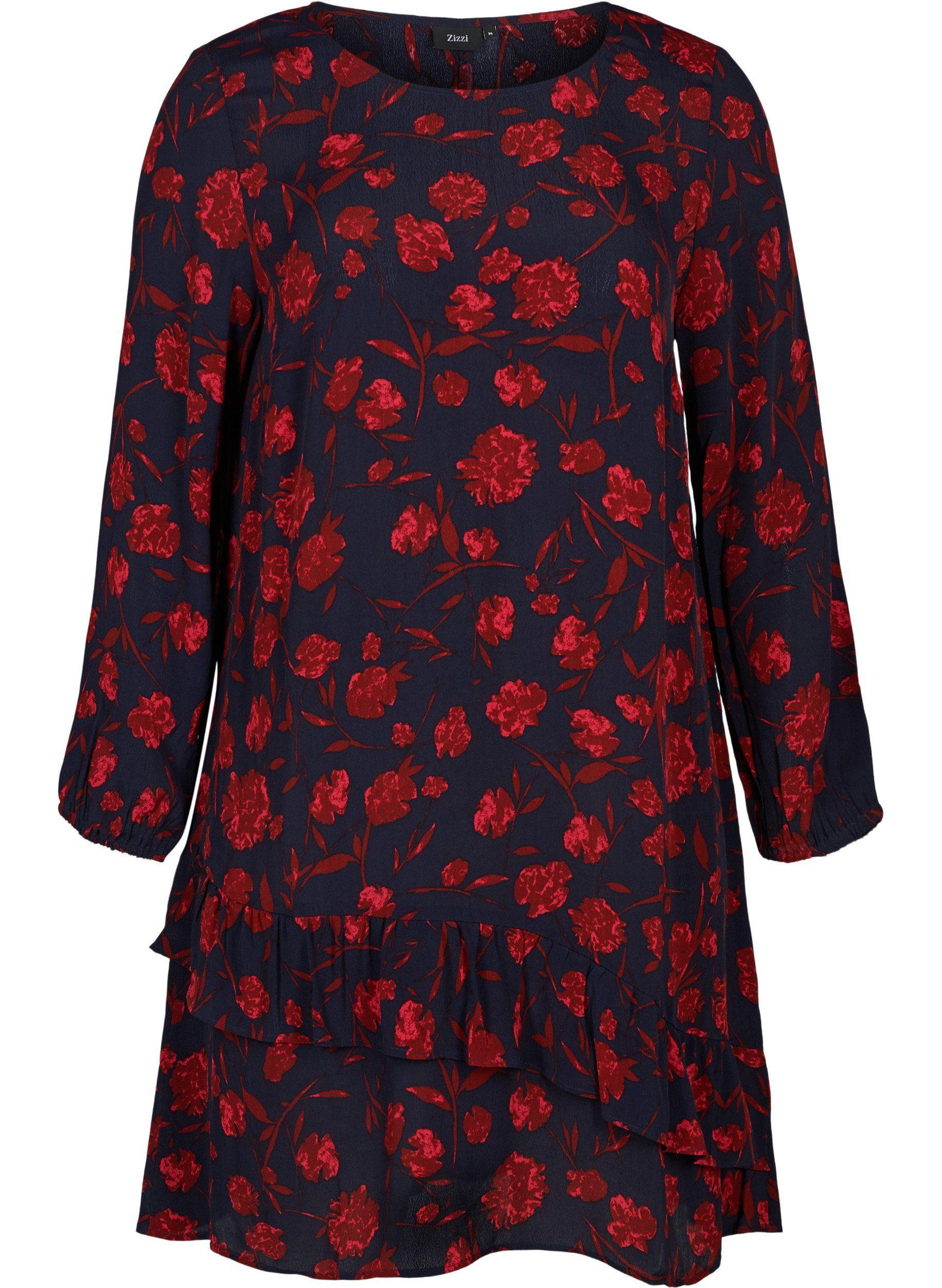 Zizzi Abendkleid Große Größen Damen mit Print und Rüschendetails online kaufen Fuw3XJ