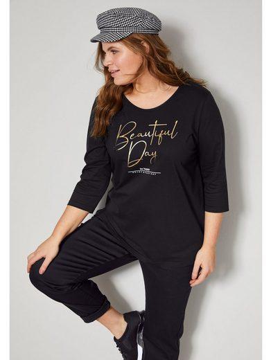 Janet & Joyce by Happy Size 3/4-Arm-Shirt mit Schriftzug