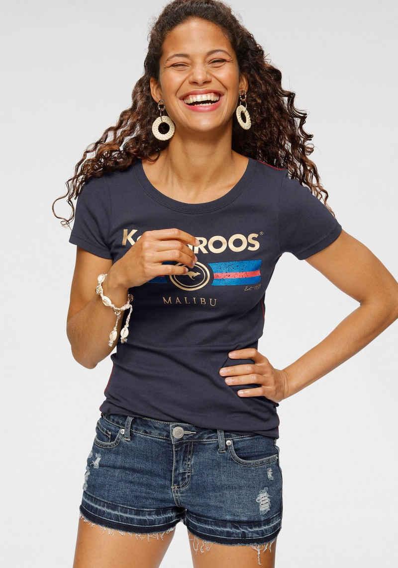 KangaROOS T-Shirt mit Label Metallic Print