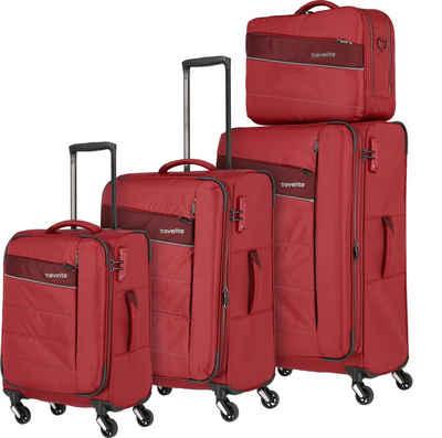 travelite Trolleyset »Kite, rot«, 4 Rollen, (4 tlg)