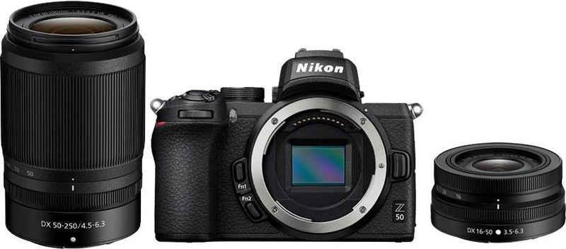 Nikon »Z50 DX 16-50mm VR + DX 50-250mm« Systemkamera (DX 16-50mm 1:3.5-6.3 VR, DX 50-250mm 1:4.5-6.3 VR, 20,9 MP, WLAN (Wi-Fi), Bluetooth)