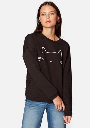 Mavi Sweatshirt »CAT EMBROIDERED SWEATSHIRT« mit stylischen Katzen Stickerei