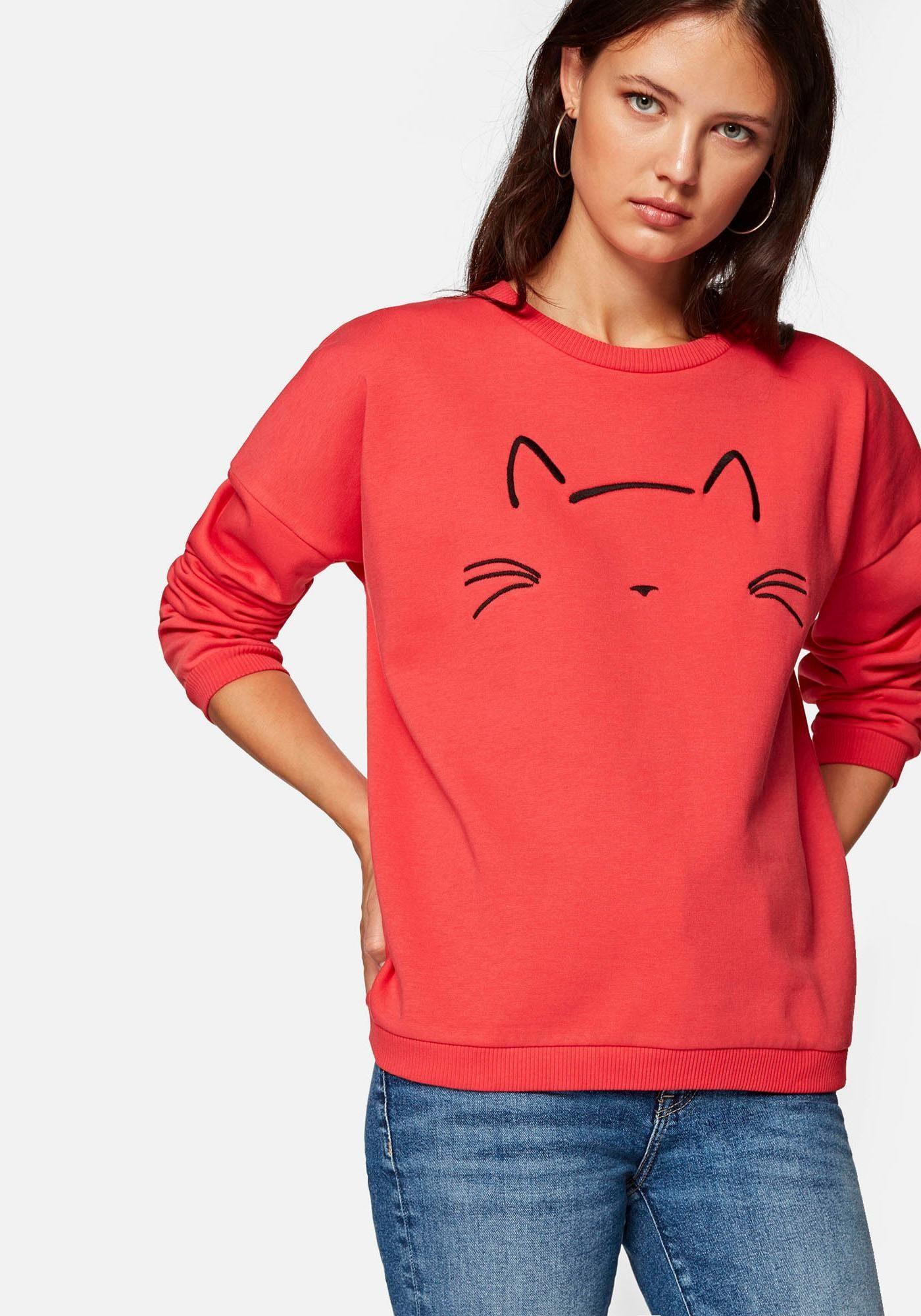 Mavi Sweatshirt »CAT EMBROIDERED SWEATSHIRT« mit stylischen Katzen Stickerei online kaufen | OTTO