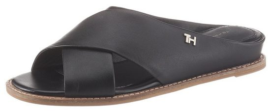 TOMMY HILFIGER »FEMININE LEATHER LOW WEDGE« Pantolette mit Label