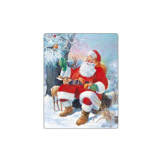 Larsen Weihnachts-Rahmen-Puzzle, 32 Teile, 36x28 cm, Weihnachtsmann