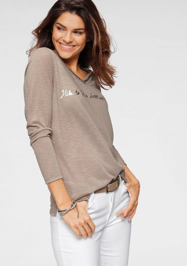 Boysen's Langarmshirt mit Paillettenaplikation und Print