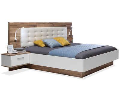 Moebel-Eins Futonbett, MEDUNA Bettanlage 180x200 cm, Material Dekorspanplatte, eichefarbig/weiss