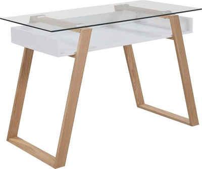SalesFever Schreibtisch, mit Glasplatte