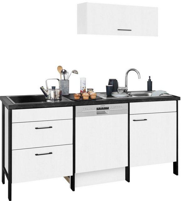 Einbauküchen - OPTIFIT Küchenzeile »Tokio«, ohne E Geräte, Breite 192 cm, mit Stahlgestell, mit Vollauszügen  - Onlineshop OTTO