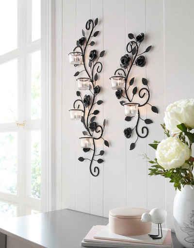 Home affaire Wandkerzenhalter »Blumenranke« (2er-Set), Wandleuchter, Wanddeko, Wanddekoration, aus Metall, mit Used-Effekt