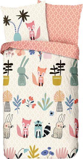Kinderbettwäsche »Hipsty«, good morning, mit Tieren und Pflanzen