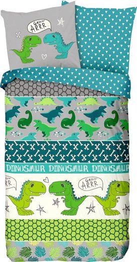 Kinderbettwäsche »Dinosaur«, good morning, mit Dinos
