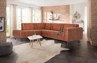 Premium Collection By Home Affaire Ecksofa Avila In Lederoptik Und Metall Füßen