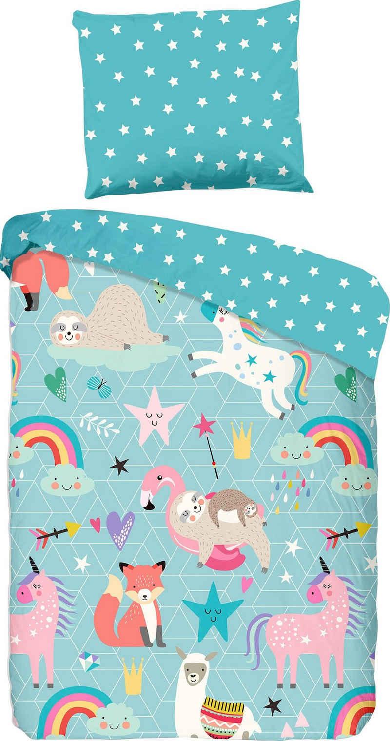 Kinderbettwäsche »Moody«, good morning, mit kindlichem Tierprint