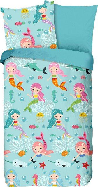 Kinderbettwäsche »Mermaids«, good morning, mit Seejungfrauen und Fischen | Kinderzimmer > Textilien für Kinder > Kinderbettwäsche | Baumwolle | good morning