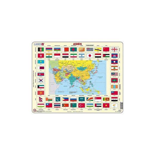 Larsen Rahmen-Puzzle, 70 Teile, 36x28 cm, Asien (politisch mit Flag