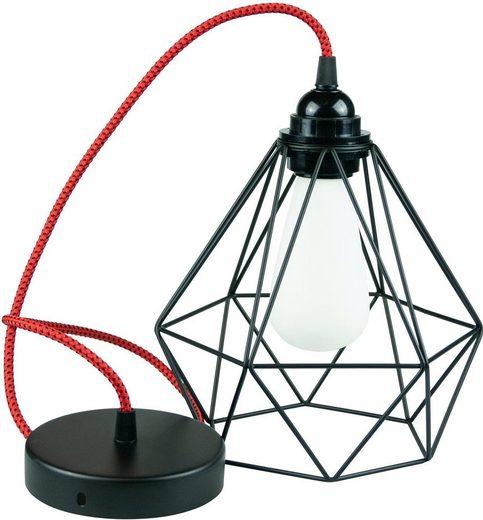 SEGULA Hängeleuchte »Pendelleuchte Diamant Schwarz Metall, Textilkabel rot-schwarz«, 1-flammig