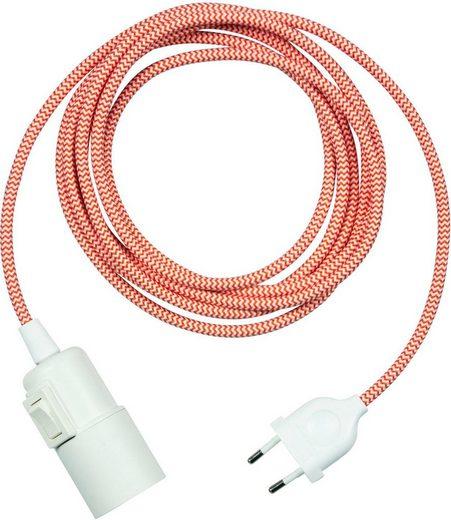 SEGULA Wandleuchte »Pendelleuchte Weiß - Schalter Kunststoff - 3m Stoffkabel rot«, 1-flammig, Mit Schalter